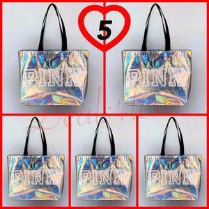 VS PINK Iridescent Tote Bag Purse Travel NWT (x5)